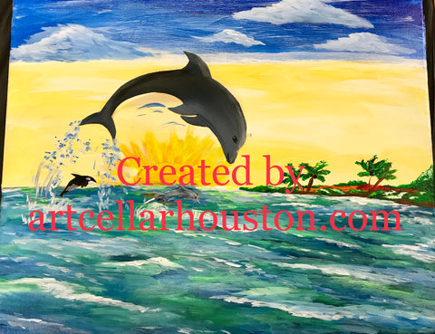"Sat, Jun 23, 7-10pm ""Dolphin's Sunset 3D"" PRIVATE Houston Wine & 3D Painting Party"