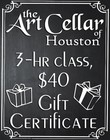 3-Hour Gift Certificate, The Art Cellar of Houston, Houston Wine and Painting Class