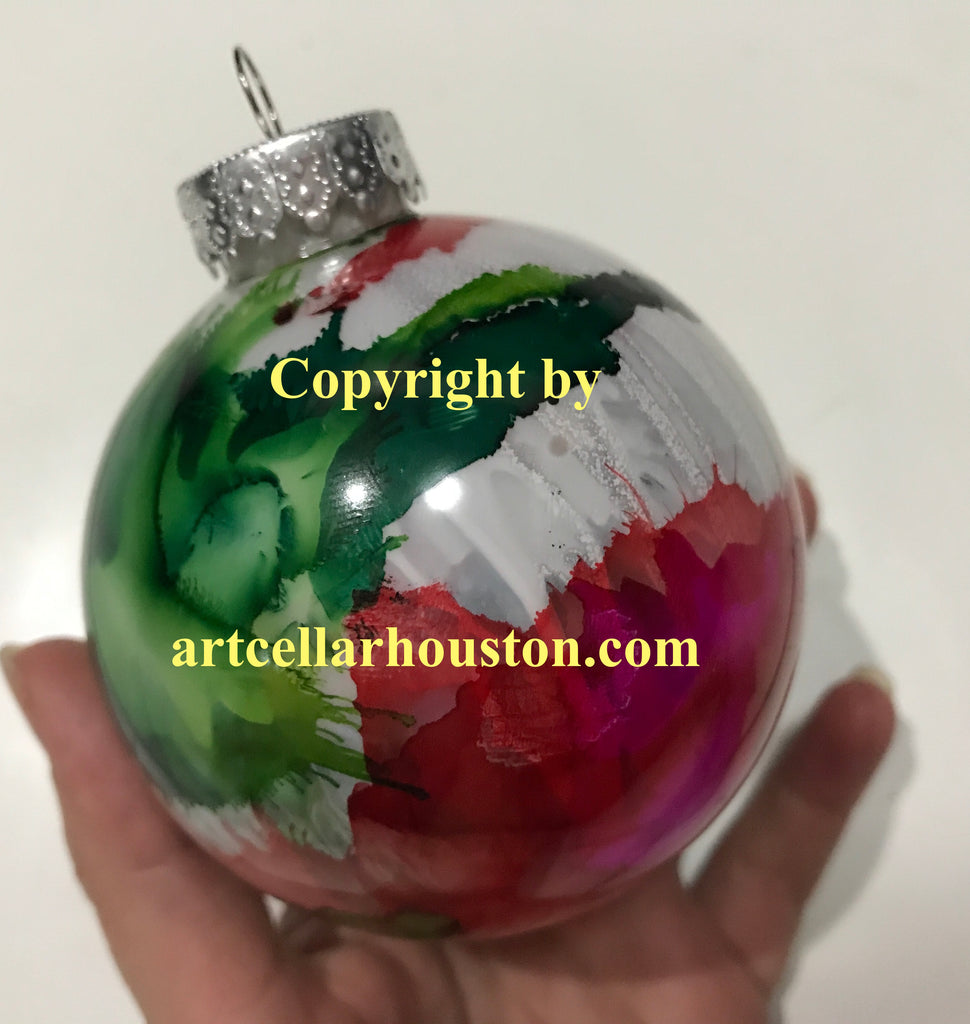 "Wed, Dec 12, 4-6pm ""Alcohol Ink Ornaments"" Public Houston Kids Paint Class"