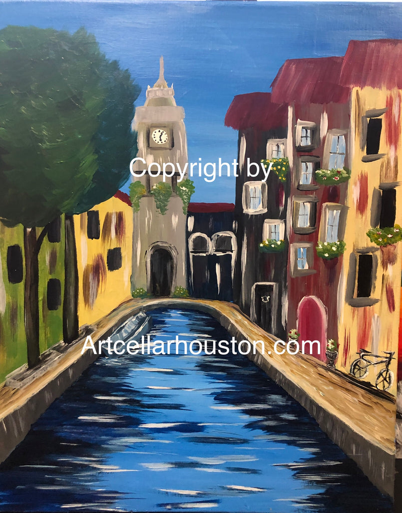 "Sat, Mar 28, 7-930p ""City Clocktower"" Houston Public Wine and Painting Class"