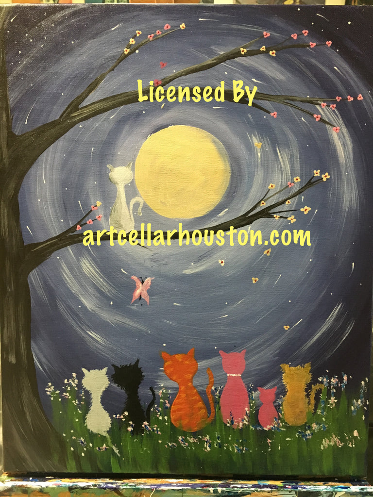 "Wed, Nov 4, 4-6p ""Kittens by Moonlight"" Public Houston Kids Paint Class"