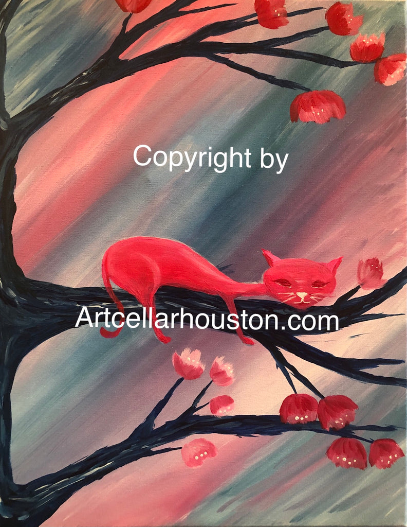 "Fri, Nov 6, 530-730P ""Lazy Cat"" Private Houston Kids Painting Party"