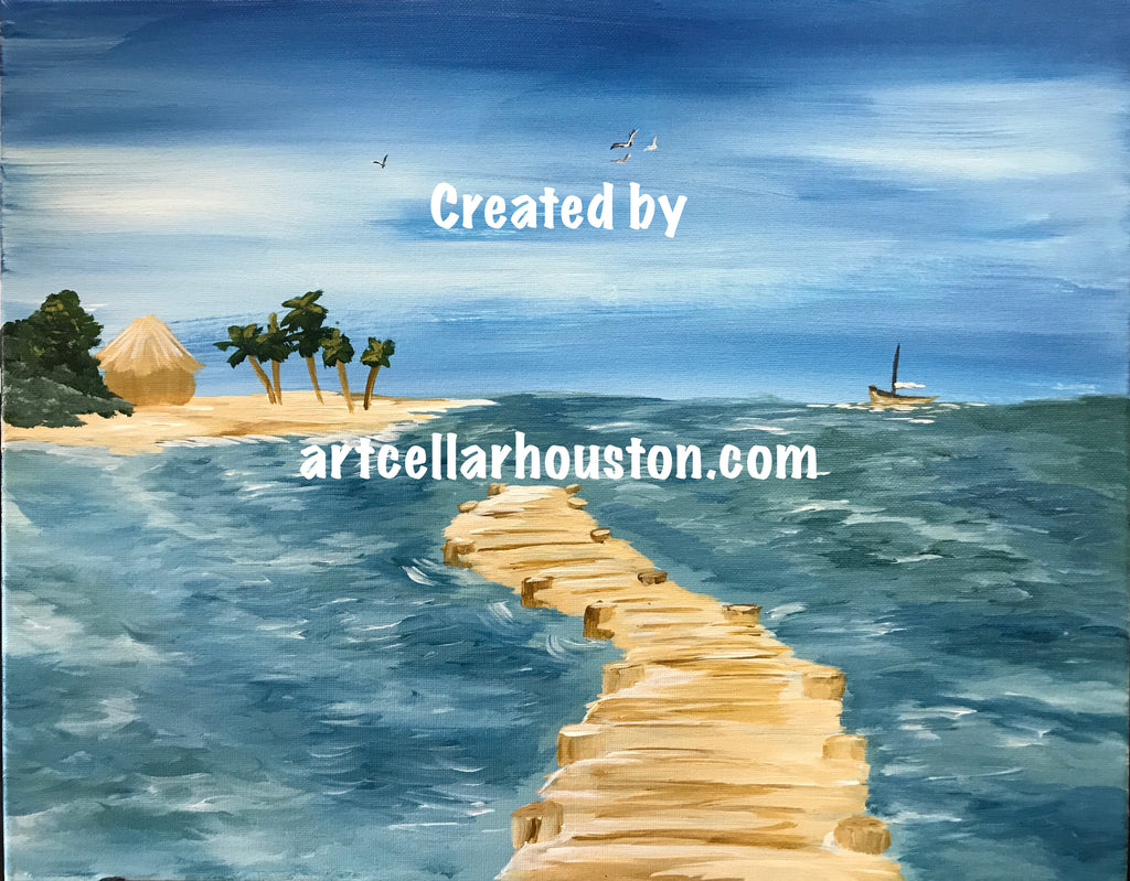 "Sat, Aug 17, 12-2pm ""Bridge To Paradise"" Houston Public Family Painting Class"