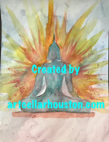 "Wed, Aug 23, 7-10pm ""Buddha"" Public Houston Yoga and Watercolor Class"