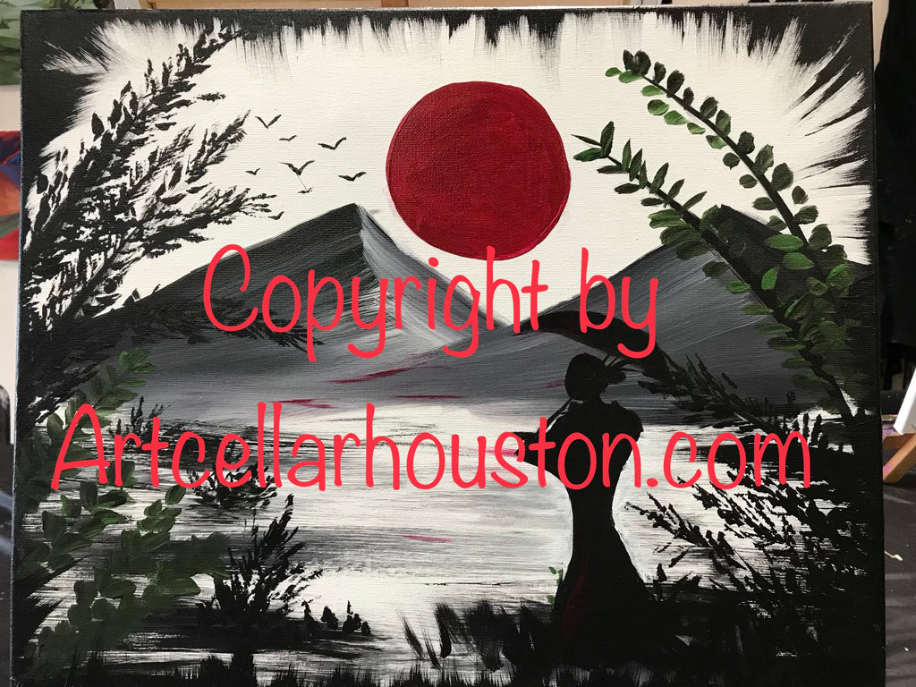 "Fri, Mar 6, 7-9p ""Under the Red Moonlight"" Public Houston Wine & Painting Class"