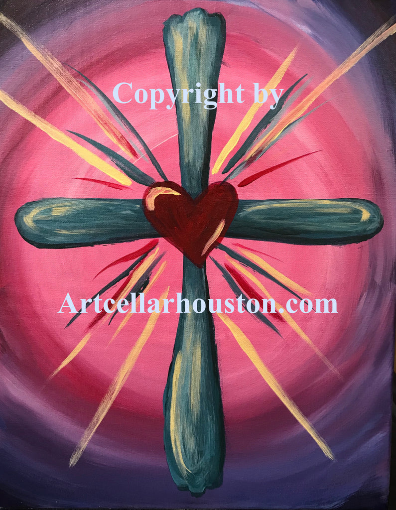 "Wed, Feb 5, 4-6pm ""Cross My Heart"" Public Houston Kids Painting Class"