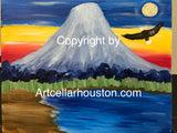 "Sun, Mar 22, 2-4pm ""Mt Fuji"" Houston Private Kids Painting Party"