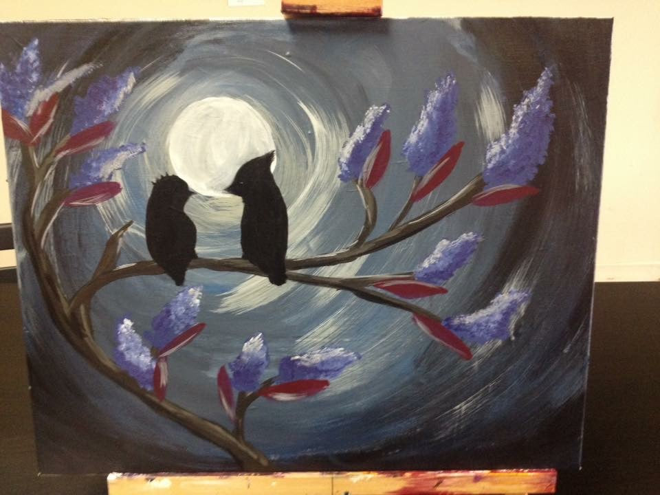 "Sat, Feb 15, 9-11am ""Evening Lovebirds"" Houston Public Family Painting Class"