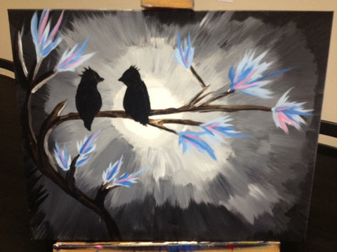 "Fri, Dec 29, 7-10pm ""Evening Lovebirds"" Public Houston Wine and Painting Class"