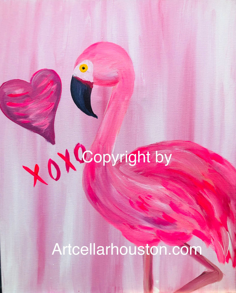 "Fri, Aug 9, 7-9pm ""Flamingo Love"" Public Houston Family Painting Class"