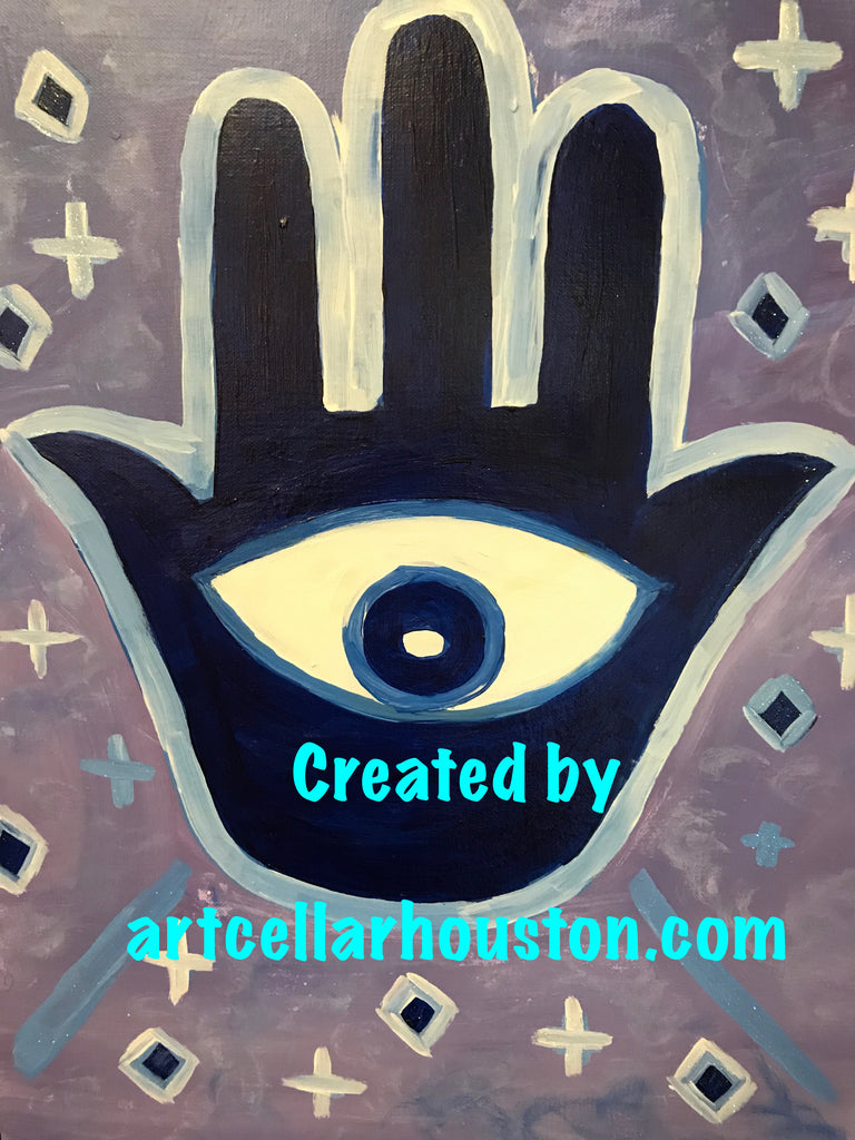 "Wed, Jan 22, 4-6pm ""Hamsa Love"" Houston Public Kids Painting Class"