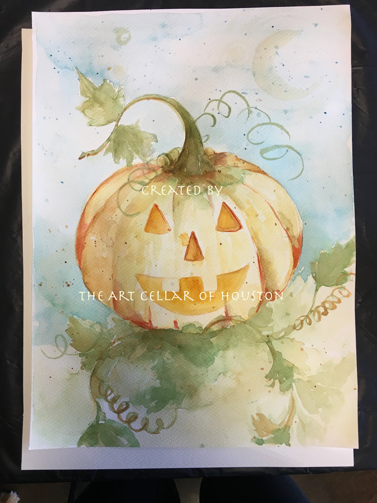 "Tue, Oct 30, 10-1130am ""Happy Pumpkin"" Private Houston Painting Class"