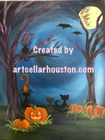 "Fri, Oct 20, 7-9pm ""Howlin at the Moon"" Public Houston Wine and Painting Class"