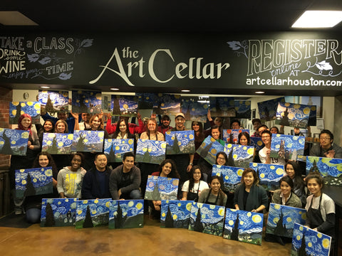 "Fri, Dec 22, 7-10pm ""Winter Cardinal"" Public Houston Wine and Painting Class"