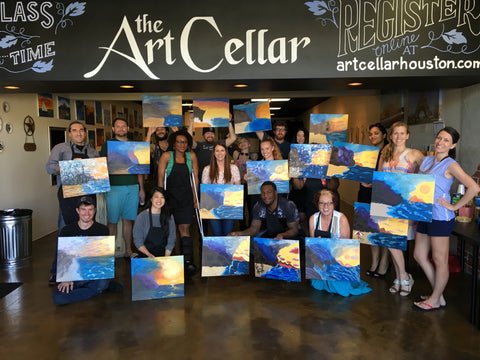 "Sat, Nov 3, 7-10pm ""Starry Night"" Public Houston Wine and Painting Class"