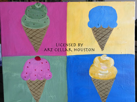 "Sat, Jul 22, 10-1130am ""Ice Cream Warhol"" Kids Paint Public Houston Class"