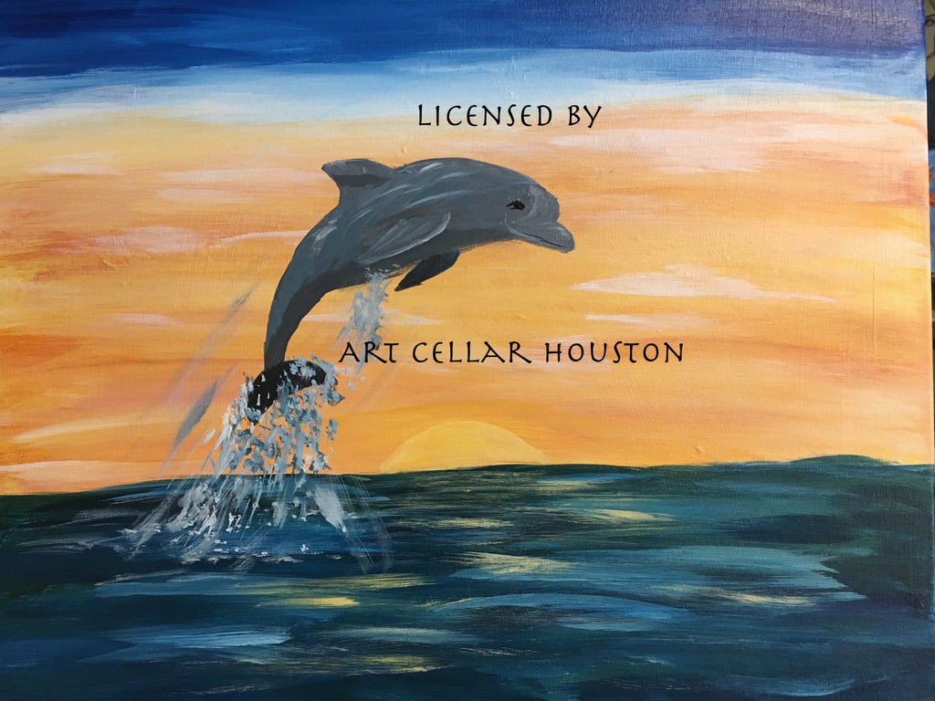 "Sat, May 13, 10-1130am Kids Paint ""A Dolphin Day""  Public Painting Class"