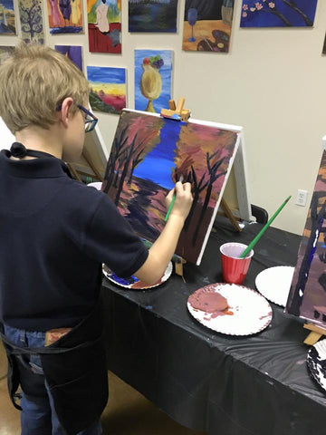 "Wed, Oct 11, 330-5pm ""Fall Poppies"" Kids Paint Public Houston Painting Class"
