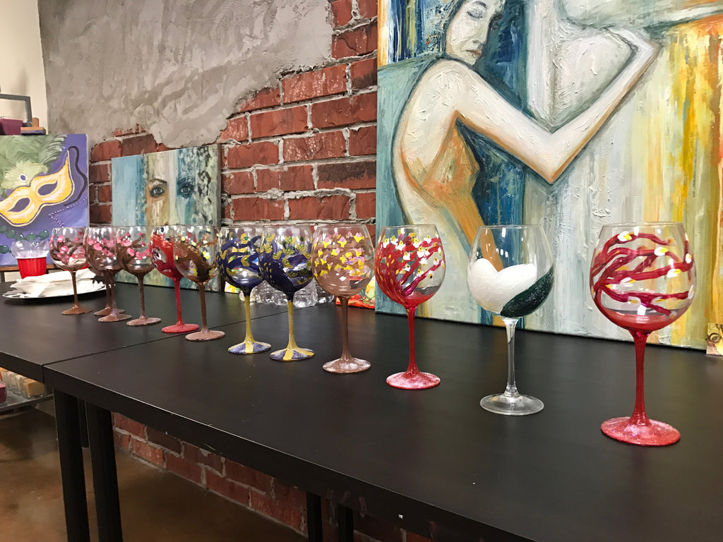 "Sat, May 4, 6-9pm ""Painting on Wine Glasses"" Public Houston Wine & Paint Class"