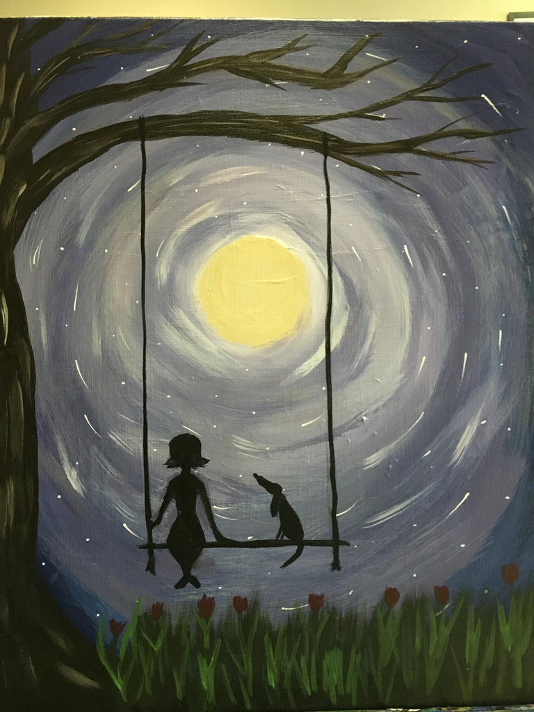 "Sun, Sep 29, 2-4pm ""Moon Glow Puppy"" Private Houston Kids Painting Party"