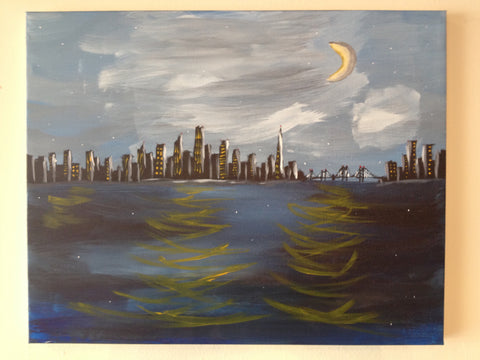 "Sun, Nov 6, 2-5pm ""Night Cityscape"" PRIVATE PARTY Houston Kids Painting Class"