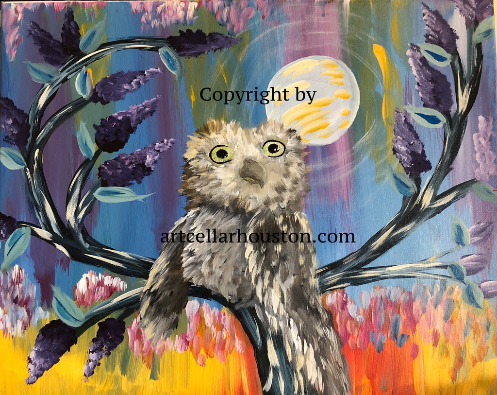 "Sat, Aug 24, 7-10pm ""Owl at the Moon"" Houston Public Fundraiser Painting Class"