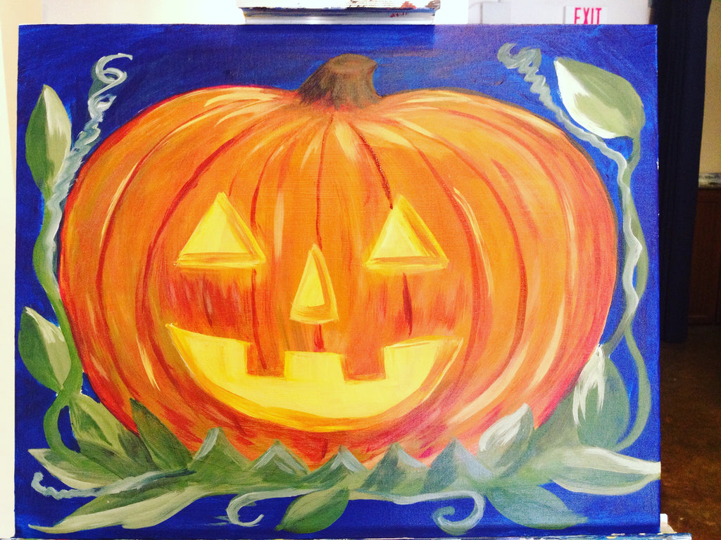 "Sat, Oct 11, 10a-12p ""Watercolor Pumpkins"" Public Houston Kids Paint Class"