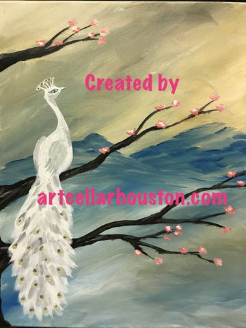 "Sat, May 19, 7-10p ""Peacock Sunset"" Houston Public Wine and Painting Class"