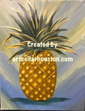 "Wed, Aug 9, 7-10pm ""Pineapple Love"" Houston Public Yoga and Painting Class"