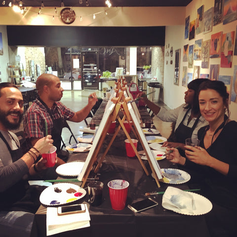 "Sat, Feb 2, 7-9pm ""Acrylic Pour"" Houston Public Wine and Paint Class"