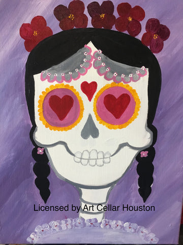 "Sat, Oct 27, 10a-12p ""Sugar Skulls and Spice"" Public Houston Kids Painting Class"