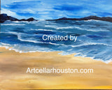 "Sat, Aug 17, 7-10pm ""Beach at Sunrise"" Houston Public Wine and Painting Class"