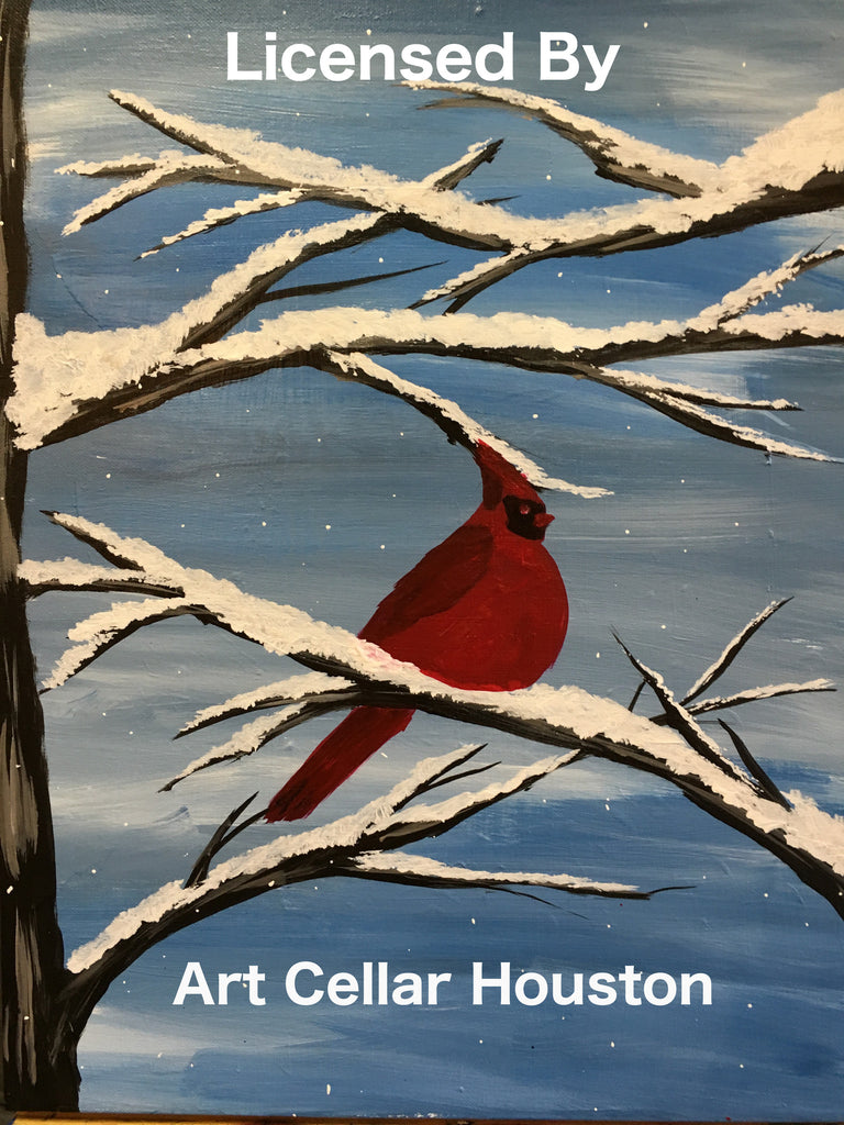 "Sat, Jan 26, 10a-12pm ""Kids Paint: Winter Cardinal"" Houston Public Family Painting Class"