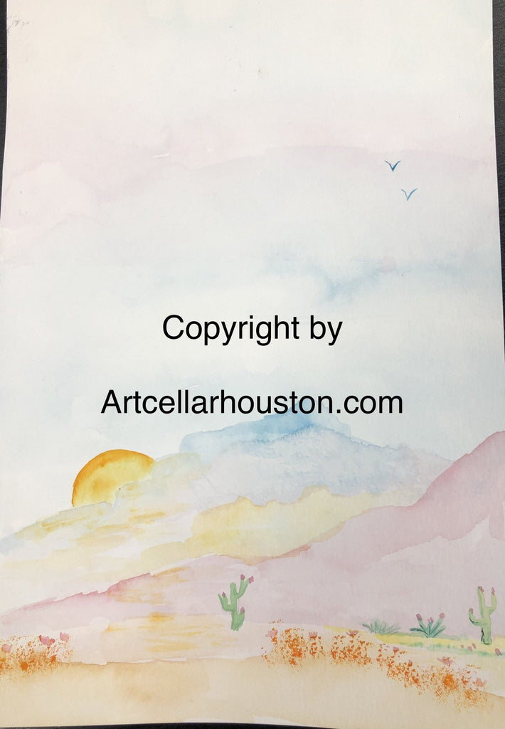 Sat, Sep 26, 9-11a Kids Paint: Desert Sunset Public Houston Watercolor Painting