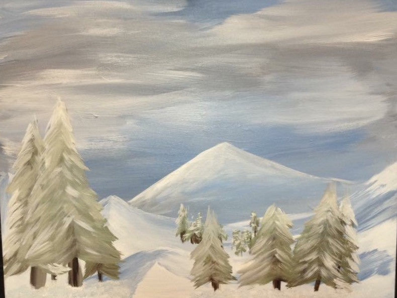 "Sat, Dec 2, 10-12p ""Winter Wonderland"" Kids Paint Public Houston Painting Class"