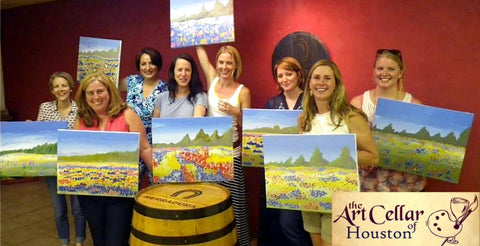 "Sat, Aug 26, 7-10pm ""Fleur de Lis"" Public Houston Wine and Painting Class"