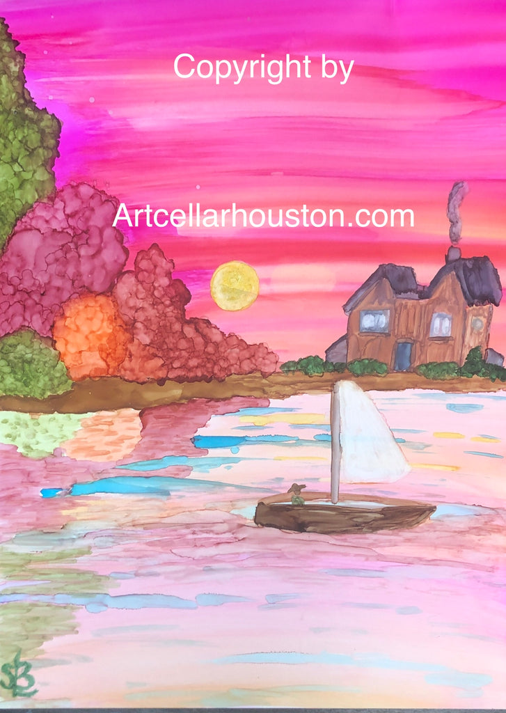 "Sat, Nov 14, 9-11A ""Alcohol Inks on Tile"" Public Houston Kids Paint Class"