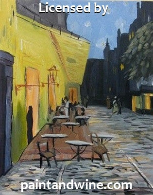 "Sat, Mar 28, 7-10p ""Cafe Terrace"" Houston Public Wine and Painting Class"