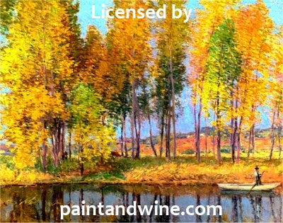 "Sat, Aug 19, 7-10pm ""Autumn Stream"" Public Houston Wine and Painting Class"