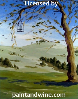 "Fri, Sep 1, 7-10pm ""Cage Tree"" Public Houston Wine and Painting Class"