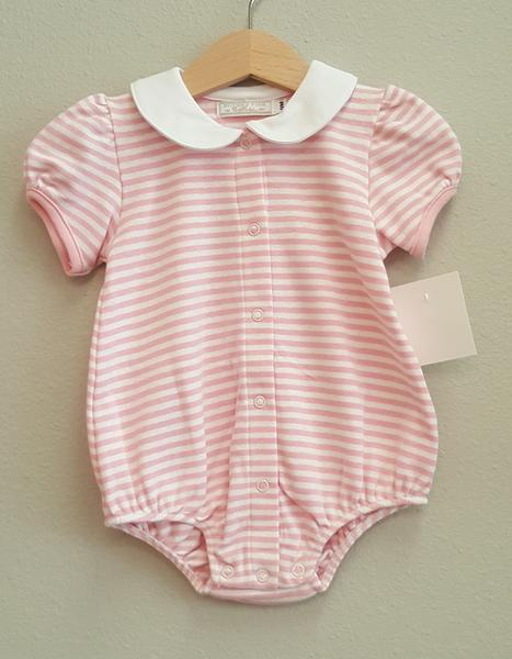 Stitchy Fish Girls Peter Pan Collar Bubble - Pink and White Stripe