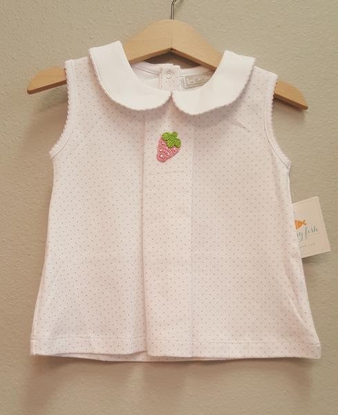 Stitchy Fish Pleat Front Shirt with Crochet Strawberry