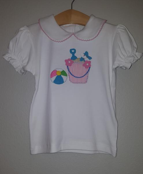 Stitchy Fish Peter Pan Collar Beach Bucket & Ball Applique Shirt