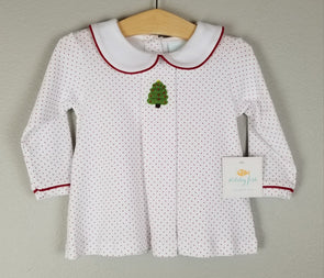 Stitchy Fish Boys Christmas Tree Crochet Collared Shirt