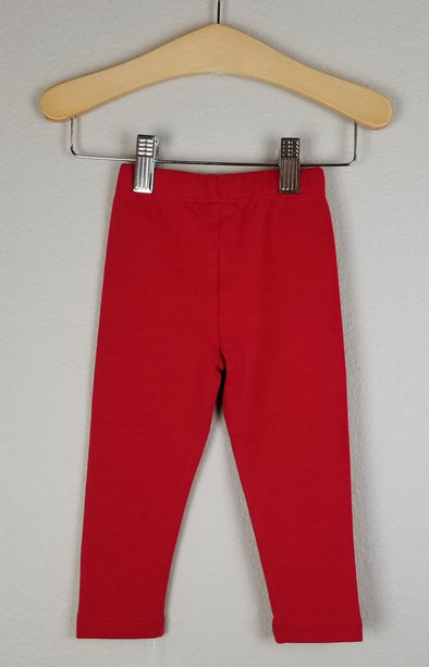 Stitchy Fish Straight Leggings- Red
