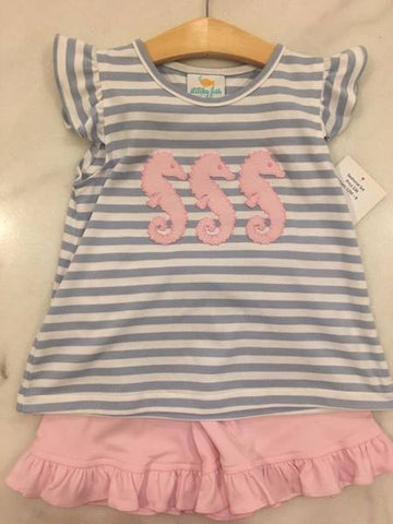 Stitchy Fish Seahorse Knit Short Set