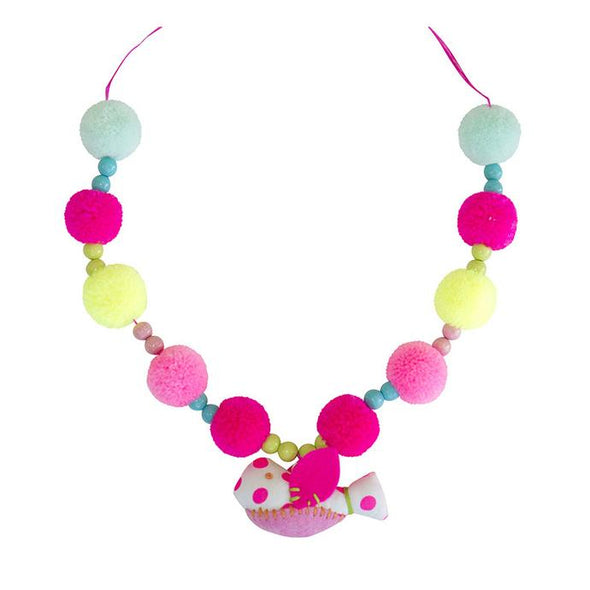 PomPom Birdie Necklace - Multiple Colors