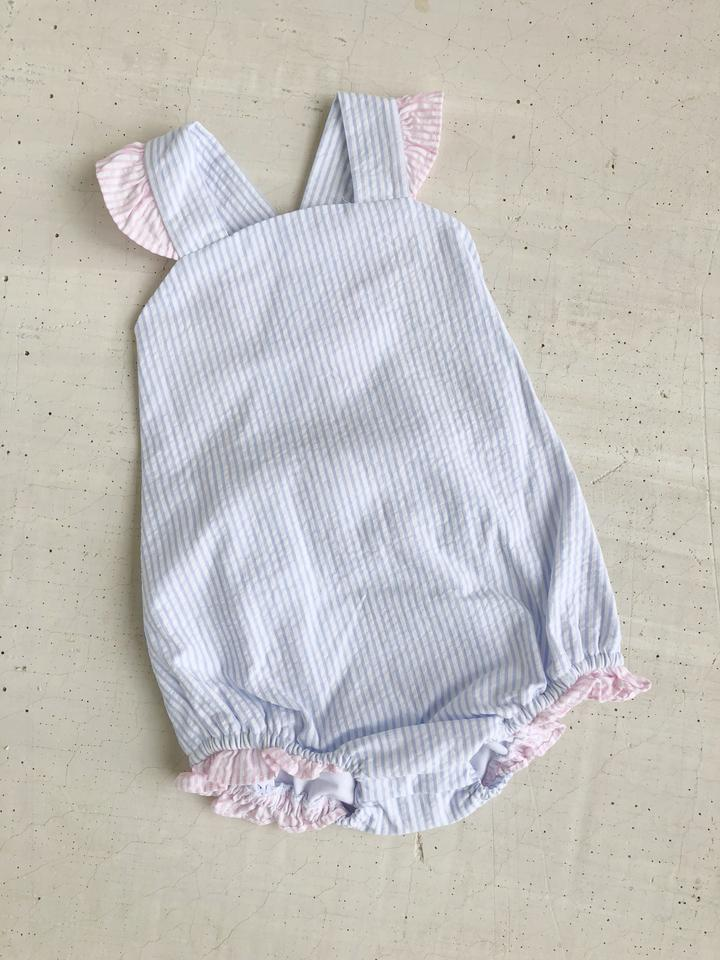 Little English Bow Back Swimsuit - Blue/Pink