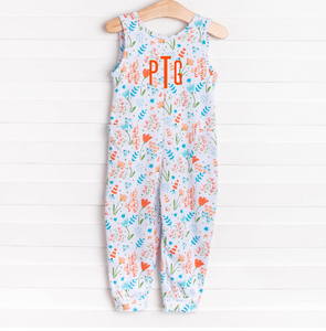 Garden Floral Long Romper, Orange