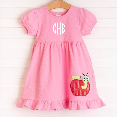 Smart Apple Applique Knit Dress, Pink